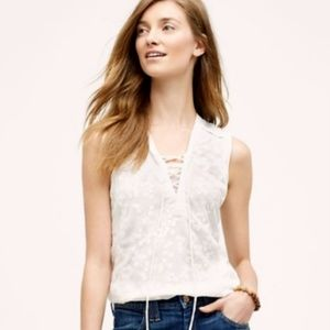 Anthropologie Maeve Tie Front Floral Top